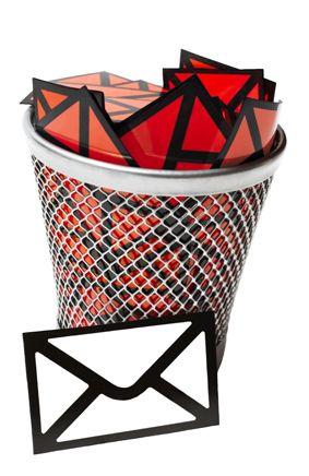 Der Junk E-Mail Spam Abfallordner