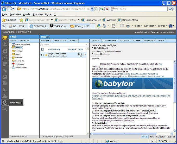 Webmail mit höchstem Komfort und Synchronisations-Möglichkeiten
